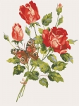 Grafitec Printed Tapestry/Needlepoint Canvas – Red Roses & Butterfly