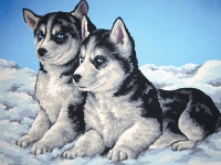 Grafitec Printed Tapestry/Needlepoint Canvas – Husky Puppies