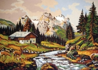 Grafitec Printed Tapestry/Needlepoint Canvas – Mountain Chalet