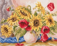 Grafitec Printed Tapestry/Needlepoint Canvas – Poppies & Sunflowers