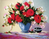 Grafitec Printed Tapestry/Needlepoint Canvas – Red Rose Delight