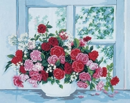 Grafitec Printed Tapestry/Needlepoint Canvas – Roses by the Window