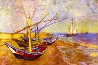 Grafitec Printed Tapestry/Needlepoint Canvas –Boats of Saintes-Maries (Van Gough)