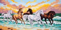 Grafitec Printed Tapestry/Needlepoint Canvas –Galloping through the Waves