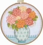Grandma's Flowers - 14 count Counted Cross Stitch Kit with Hoop