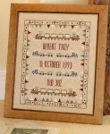 HS Counted Cross Stitch Sampler Kit – Bunting Train Birth Sampler