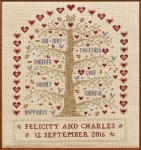 HS Counted Cross Stitch Sampler Kit – Heart & Tree Wedding Sampler