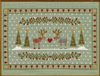 HS Counted Cross Stitch Sampler Kit – Reindeers in Love