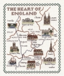 Heart of England Map - Classic 14ct Counted Cross Stitch Kit