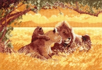 Heritage Cross Stitch Kit - Lion 28# Evenweave