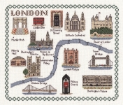 Map & Landmarks of London - Classic 14ct Counted Cross Stitch Kit