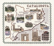 Map & Sights of Catalunya (Catalonia) - Classic 14ct Counted Cross Stitch Kit