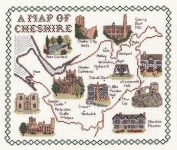 Map & Sights of Cheshire - Classic 14ct Counted Cross Stitch Kit