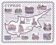Map & Sights of Cyprus - Classic 14ct Counted Cross Stitch Kit
