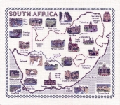 Map & Sights of South Africa - Classic 14ct Counted Cross Stitch Kit