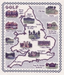 Map of Golf Courses in England & Wales - Classic 14ct Counted Cross Stitch Kit