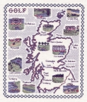 Map of Golf Courses in Scotland - Classic 14ct Counted Cross Stitch Kit