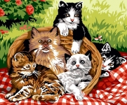 Margot de Paris Tapestry/Needlepoint - Basket of Kittens