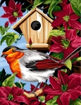 Margot de Paris Tapestry/Needlepoint - Birdhouse with Clematites