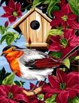 Margot de Paris Tapestry/Needlepoint - Birdhouse with Clematites