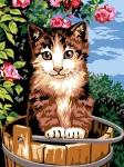Margot de Paris Tapestry/Needlepoint – Bucket Cat (Le Seau du Chat).