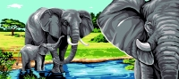 Margot de Paris Tapestry/Needlepoint – Elephants at the Lake