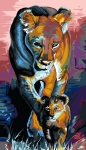 Margot de Paris Tapestry/Needlepoint Canvas – Lioness and Cub