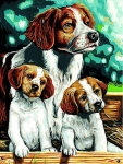 Margot de Paris Tapestry/Needlepoint - Brittany Spaniel Family