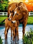 Margot de Paris Tapestry/Needlepoint Canvas – Horse & Foal in the water (Les Sabots Dans L'eau).