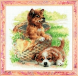 Riolis Counted Cross Stitch Kit - Puppies Playing