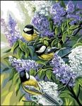 Royal Paris Tapestry/Needlepoint Canvas - Bluetits (Les Mésanges) The Chickadees (Les Mésanges)