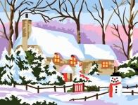 Royal Paris Tapestry/Needlepoint Canvas - House in the Snow (Maison sous la neige)