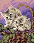 Royal Paris Tapestry/Needlepoint Canvas - Kittens in Basket