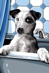 SEG de Paris Tapestry/Needlepoint – Dog in Bath