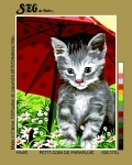 SEG de Paris Tapestry/Needlepoint – Kitten under Umbrella