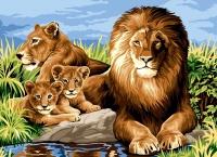 SEG de Paris Tapestry/Needlepoint – Lion Family (La Famille)