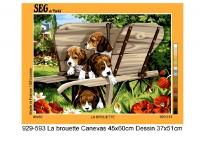 SEG de Paris Tapestry/Needlepoint – Puppies in Wheelborrow