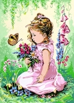SEG de Paris Tapestry/Needlepoint Canvas – Girl and the Butterfly