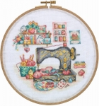 The Sewing Box - 14 count Counted Cross Stitch Kit with Hoop