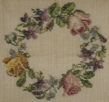 Tramme Needlepoint Canvas – Small floral wreath of Roses, Violets & Daisies.