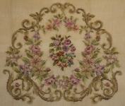Tramme Needlepoint Canvas Set – Lilac flowers with scroll border. Centre motif worked in Petit Point