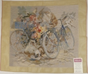 Tramme Tapestry/Needlepoint Kit – Bicycles & Flowers Picture - Fully Trammed.