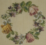 Tramme Tapestry/Needlepoint Kit – Floral Wreath design for Cushion or Stool Top