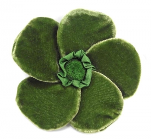 Velvet Brooch 5 Petal Flower Bottle Green by Silkthreads