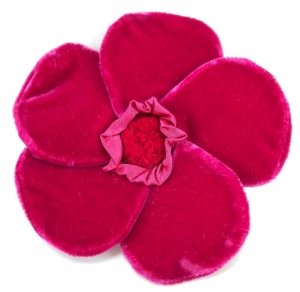 Velvet Brooch 5 Petal Flower Cerise by Silkthreads