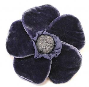 Velvet Brooch 5 Petal Flower Corsage Navy Blue