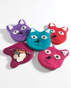 Cat design Felt zip coin Purse