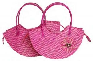 Brigitte Pink Raffia Straw Fairtrade handbag