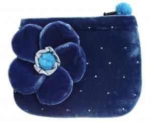 Coin Purse Velvet Flower Blue by Silkthreads
