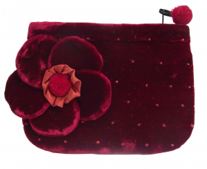 Coin Purse Velvet Flower Crimson  by Silkthreads